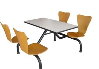 8003肯德基式四人连体快餐桌椅