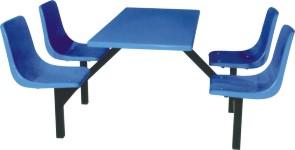 8007四人连体快餐桌椅