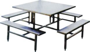 8017八人方形不锈钢食堂餐桌椅