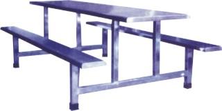 8021十人不锈钢连体条凳食堂餐桌椅